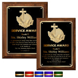 LA Trophies - Religious Christian Award Plaque with Gold Accent, GOLD Engraving and 3D Praying Hands Relief - 9x12, 10.5x13 | 5 PLATE COLORS