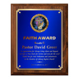 LA Trophies - Religious Christian Award Plaque with GOLD Engraving and Praying Hands Emblem - 6x8, 7x9, 8x10 | 5 PLATE COLORS