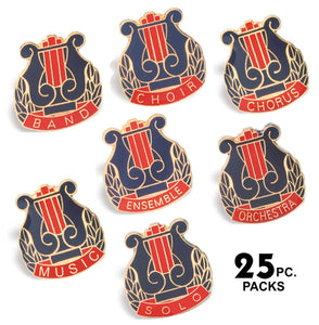 Die Struck Enamel Filled Music Lapel Pins - 25 PIECE PACKS | 7 STYLES