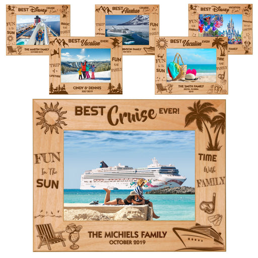 "Best Vacation Ever Memories Celebration Red Alder Laser Engraved 5"" x 7"" Photo Picture Frames 