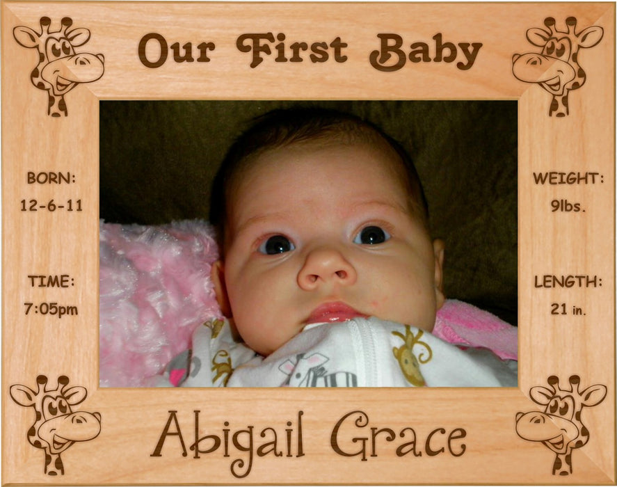 "Giraffes - Celebrating My First Grand Baby Red Alder Laser Engraved 5"" x 7"" Photo Picture Frame"
