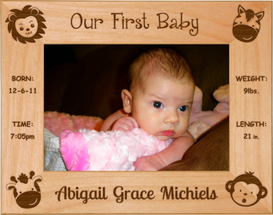 "Jungle Animals - Celebrating My First Baby Red Alder Laser Engraved 5"" x 7"" Photo Picture Frame"