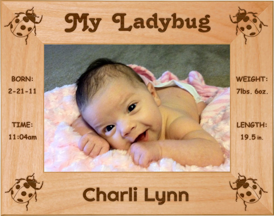 "Lady Bugs - Celebrating My First Grand Baby Red Alder Laser Engraved 5"" x 7"" Photo Picture Frame"