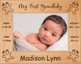 "Teddybears - Celebrating My First Grand Baby Red Alder Laser Engraved 5"" x 7"" Photo Picture Frame"