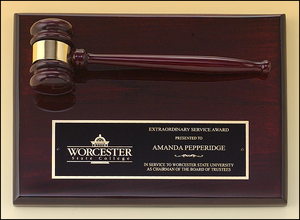 Airflyte 9x12 Rosewood stained piano finish gavel plaque