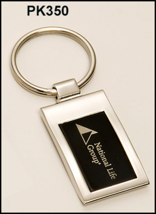 Airflyte Chrome plated key ring with black aluminum engraving plate | 2 SIZES