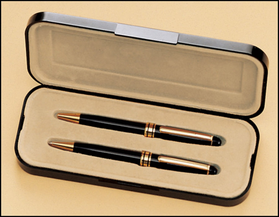 Airflyte Euro Pen and Pencil set - Black with Gold Brass Accents