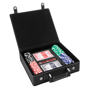 Customizable Leatherette Poker Set with Cards, Dice, and Chips | 4 COLORS
