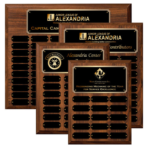 LA Trophies - Perpetual Plaque 12 to 60 Plate Version Black Plate with GOLD Engraving | 6 SIZES