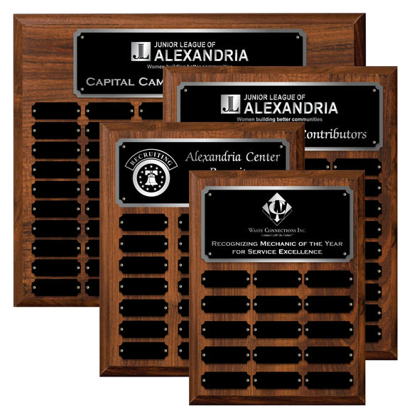 LA Trophies - Perpetual Plaque 12 to 60 Plate Version Black Plate with SILVER Engraving | 6 SIZES