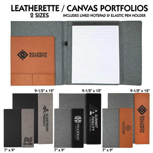 Customizable Leatherette and Canvas Portfolio with Paper Pad | 3 COLORS | 2 SIZES