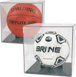 BallQube Clear Display Cases with Grandstand Basketball, Soccer ball, volley ball Holder