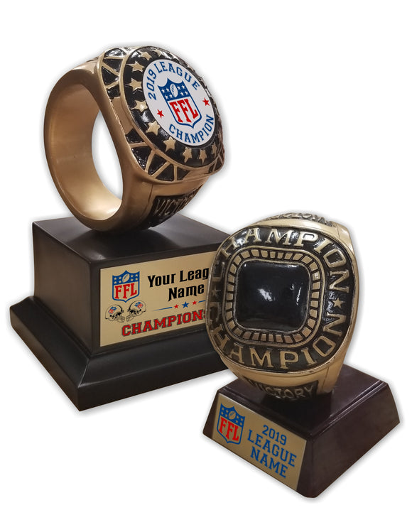 Fantasy Football League Champion Ring Resin Trophies