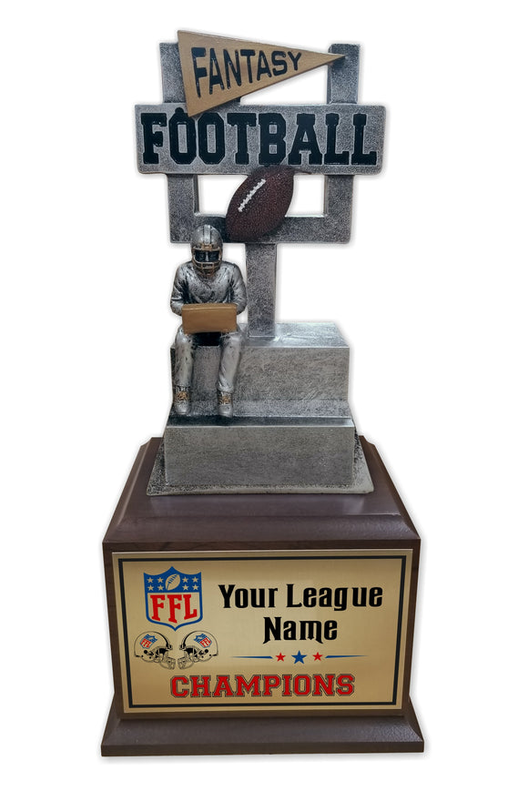 Fantasy Football League Resin Box Base Trophy with Perpetual Options