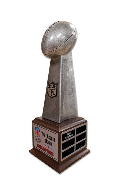 Fantasy Football League Lombardi Style Silver Tower Resin Box Base Trophies with Perpetual Options