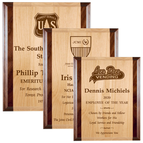 LA Trophies - Laser Engraved Red Alder with Walnut Edge Plaques - 8x10, 9x12, 10.5x13