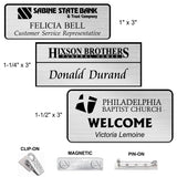 Laser Engraved Plastic Name Badges | 3 SIZES | 11 COLORS