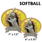 3D Sport Blaster Series Silver and Gold Oval Resin Plates  | 2 SIZES