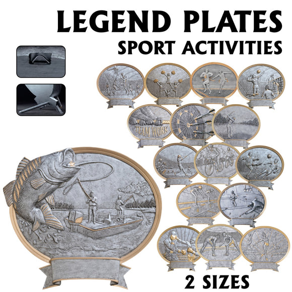 LA Trophies - Legend Series Silver and Gold Oval Sport Resin Plates  | 2 SIZES
