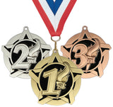 "2-1/4"" Super Star Series Place Medals on 7/8"" Neck Ribbons 