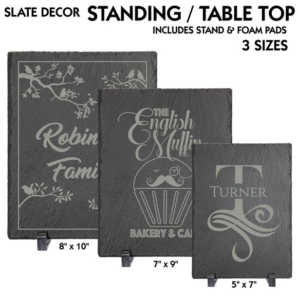 Slate Stone Rectangle Standing Table Top Decor | 3 SIZES