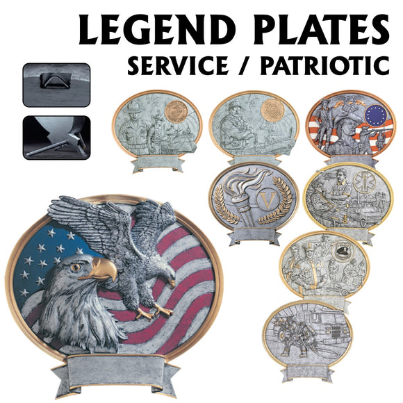 Legend Series Silver and Gold Oval Patriotic & Service Resin Plates  | 2 SIZES