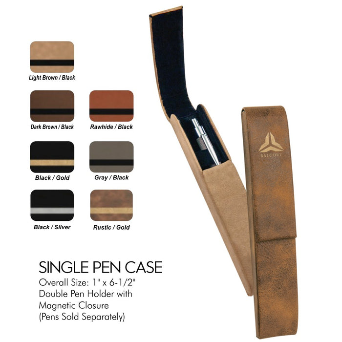 Customizable Leatherette Single Pen Holder Case | 7 COLORS