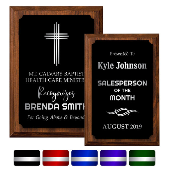 LA Trophies - Small Plaques with Solid Color Plate and SILVER Engraving - 4x6, 5x7 | 5 PLATE COLORS