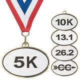 "2-1/2"" Oval Running Medals on 7/8"" Neck Ribbons 