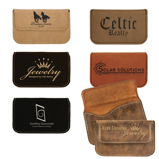 Customizable Leatherette Flexible Business Card Holder Case | 6 COLORS