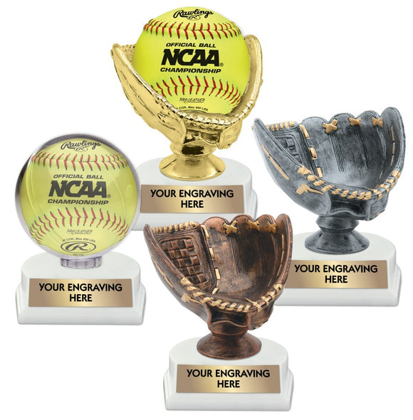Softball Ball Holder and Glove Trophies | 4 STYLES