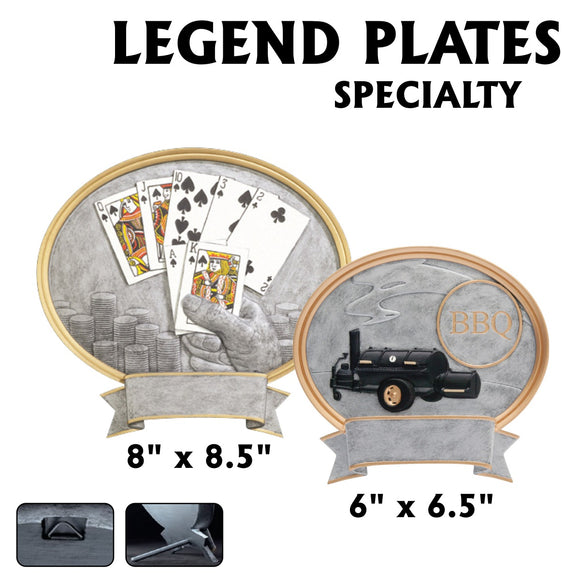LA Trophies - Legend Series Silver and Gold Oval Poker and BBQ Resin Plates  | 2 SIZES