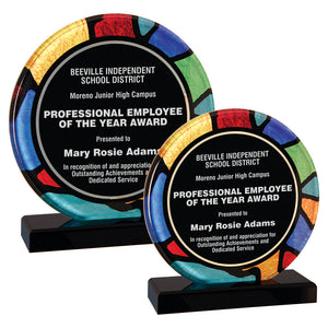 Premier - Stained Glass Inspired Round Acrylic Award | 2 SIZES