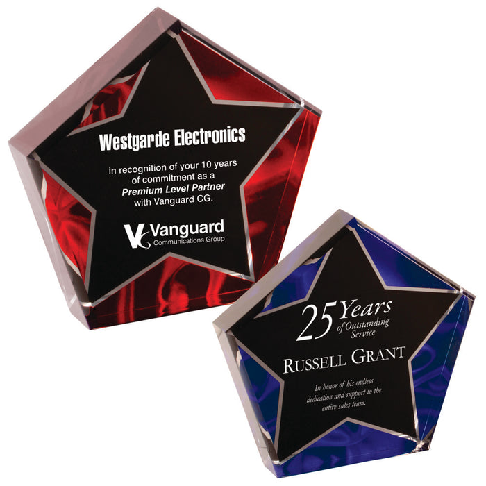"Premier - 1"" thick Red and Blue Velvet Star Self-Standing Acrylics 