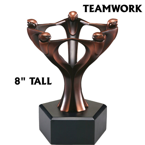 Bronze Circular Teamwork Resin Statue 8 inch Award Trophy