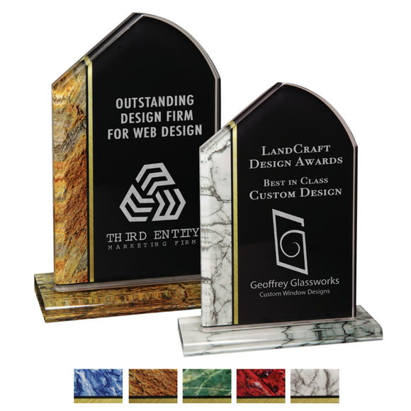 Premier - Tuscany Inspired Marbled Acrylic Award | 2 SIZES | 5 COLORS