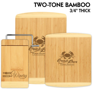 All Natural Two-Tone Bamboo Cutting Boards and Cheese Cutter | 3 SIZES