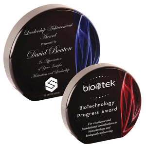 "Premier - 1"" thick Red and Blue Vapor Round Self-Standing Acrylics 