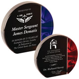 "Premier - 1"" thick Red and Blue Velvet Round Self-Standing Acrylics 