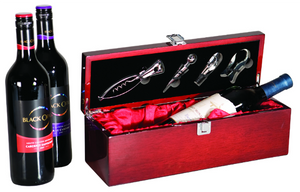 single wine presentation box with wine tools included personalize engrave engraved engraving red lining corporate gift boss employer business elegant gift idea present classy