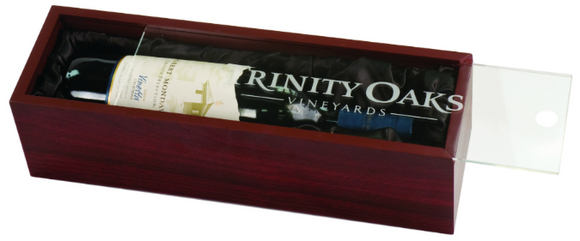 Wine winery gift box set presentation box custom customize personalize wedding party gift groom bride boss employer corporate present business man men guy rosewood finish engrave lid engraving acrylic