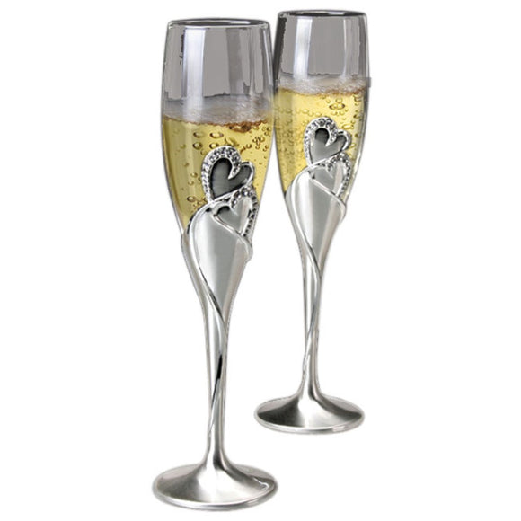Two Hearts Collection - Flute Glass Set Two-Tone Silver Finish Stems