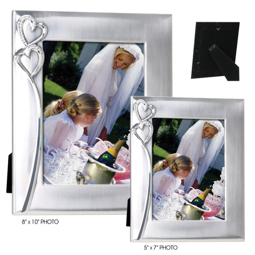 "Two Hearts Collection - Photo Picture Frames 5"" x 7"" and 8"" x 10"" Two-Tone Silver Finish"