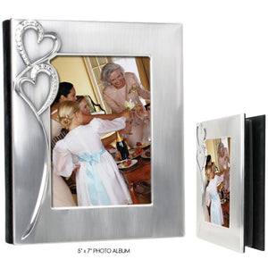 "Two Hearts Collection - Wedding 5"" x 7"" Photo Album Two-Tone Silver Finish"