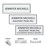 "Standard 1"" x 3"" Engraved Plastic TEXT ONLY Name Badges 