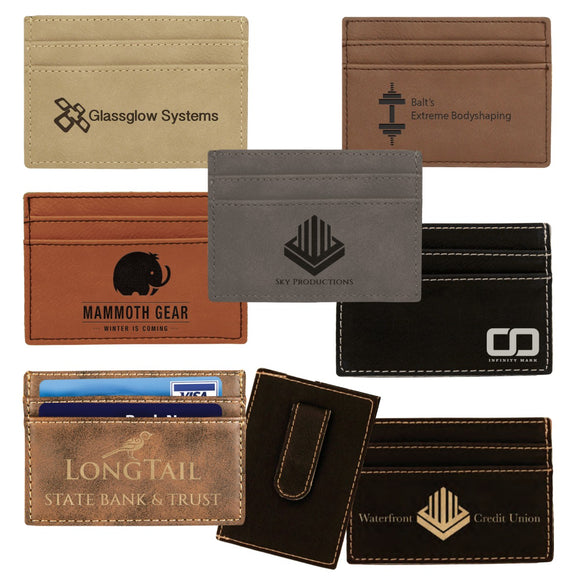Customizable Leatherette Clip On 2 Slot Wallet | 7 COLORS