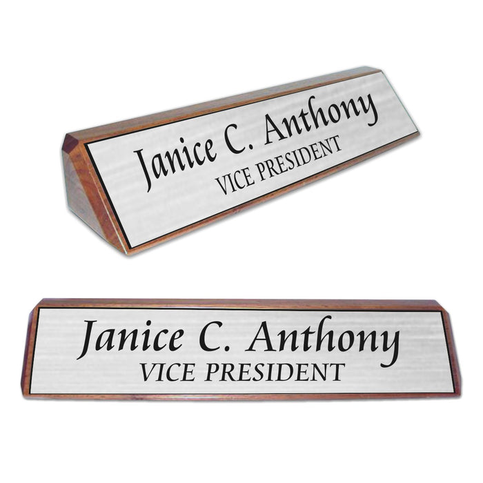 LA Trophies - Genuine Walnut Desk Wedge Nameblock with Plastic Nameplate | 3 FONTS | 4 PLATE COLORS