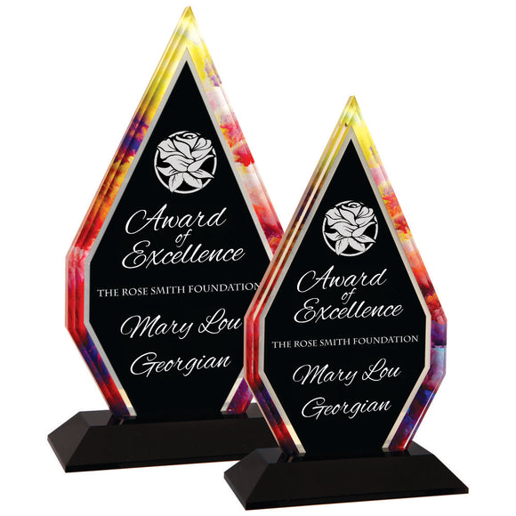 Premier - Watercolor Inspired Diamond Acrylic Award | 2 SIZES