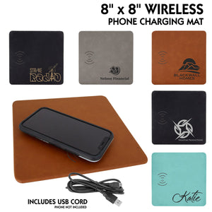 "Wireless 8"" x 8"" Cellphone Charging Mats with USB cable 