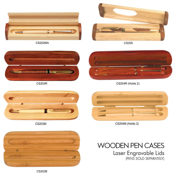 Customizable Wooden Engravable Pen Holder Cases | 7 OPTIONS